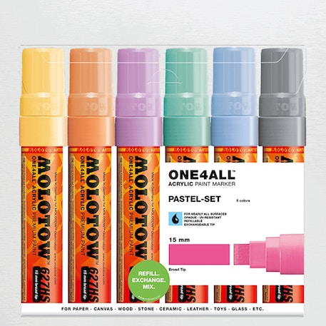 Molotow ONE4ALL Acrylic Marker Pastel Set Broad Nib 15mm Set of 6 | Cass Art