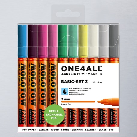 Molotow ONE4ALL 127HS Acrylic Pump Marker Basic Set 3 Round Nib 2mm Set of 10 | Cass Art