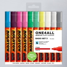 Molotow ONE4ALL Acrylic Pump Marker Basic Set 3 Round Nib 4mm Set of 10