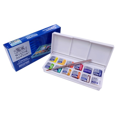 Winsor & Newton Cotman (Including 1 Artist's quality) Watercolour Sketchers Pocket Box of 12 Half Pan | Cass Art