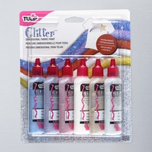 Tulip 3D Glitter Fabric Paint 37ml Set of 6
