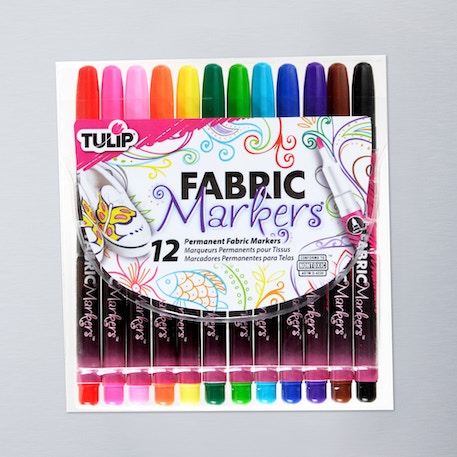 Tulip Fabric Markers FineTip Assorted Colours Pack of 12 | Fashion DIY Supplies | Cass Art