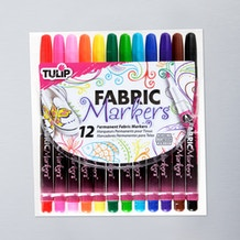 Tulip Fabric Markers FineTip Assorted Colours Pack of 12