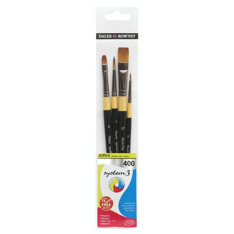Daler Rowney System 3 400 Acrylic Brush Wallet Set of 4 | Cass Art