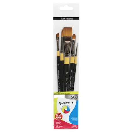 Daler Rowney System 3 500 Acrylic Brush Wallet Set of 5 | Cass Art