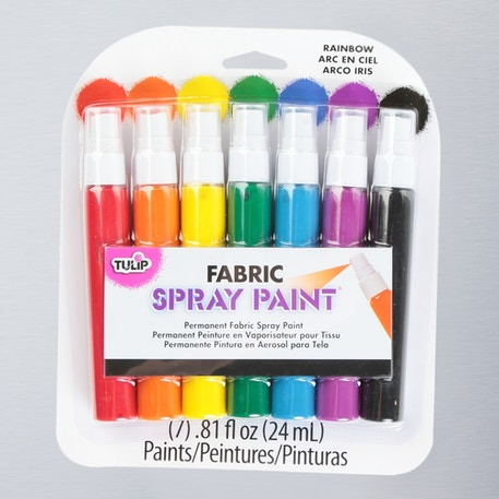 Tulip Fabric Spray Paint Rainbow 24ml Assorted Colours Pack of 7 | Fabric Paint | Cass Art