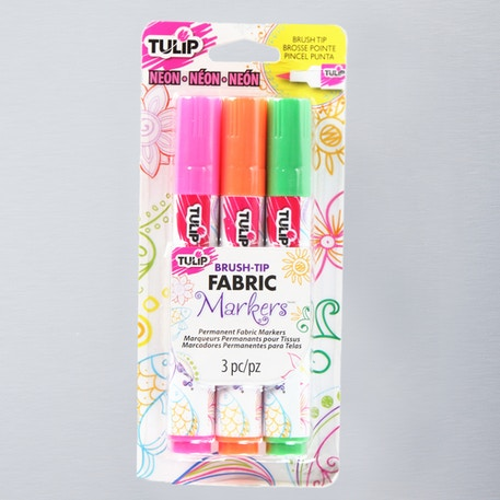 Tulip Fabric Markers Brush Tip Neon Assorted Colours Pack of 3 | Fabric Markers | Cass Art