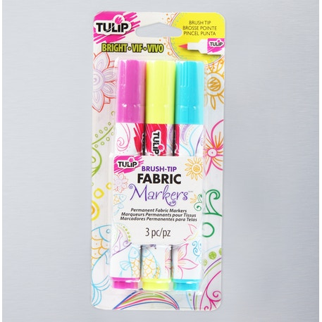 Tulip Fabric Markers BrushTip Bright Assorted Colours Pack of 3 | Fabric Markers | Cass Art