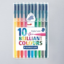 Staedtler Triplus Fibre Tip Set of 10 Assorted Colours