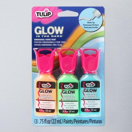 Tulip 3D Glow in the Dark 22ml Assorted Colours Pack of 3   Fabric Paint   Cass Art