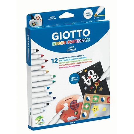 Giotto Décor Multisurface Paint Markers Assorted Colours Set of 12