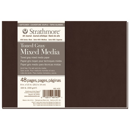 Strathmore 400 Toned Grey Mixed Media Softcover Book 24 sheets 5.5 x 8 inches