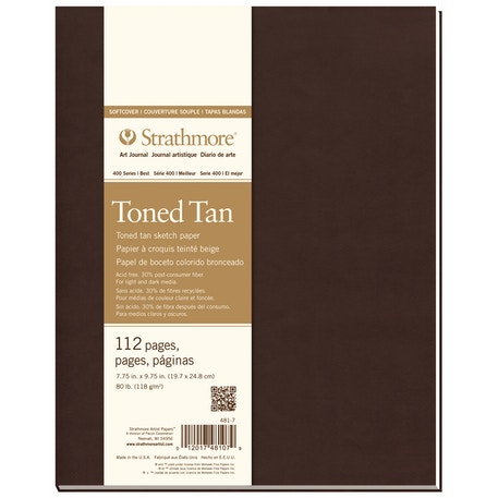 Strathmore 400 Series Soft Cover Sketchbook 56 Sheets 118gsm 13.9 x 20.3cm Toned Tan | Cass Art