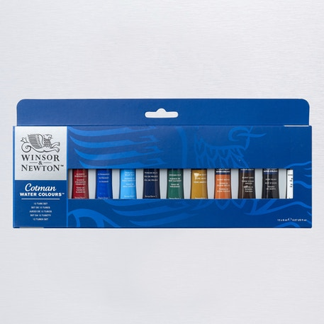 Winsor & Newton Cotman Watercolour Tube Set of 12 8ml | Winsor & Newton Watercolours | Cass Art