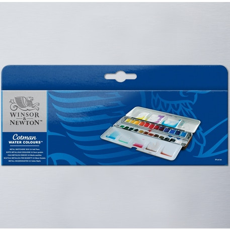 Winsor & Newton Cotman Watercolour 24 Half Pan Metal Sketchers Box | Cass Art