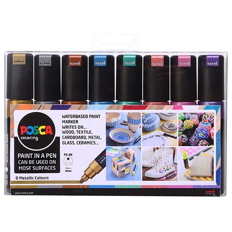 Uni POSCA PC-8K Marker Pen Metallic Colours Set of 8 | Cass Art