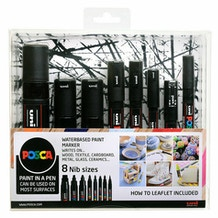 Uni POSCA Mixed Nib Sizes Marker Pen Set of 8 - Black