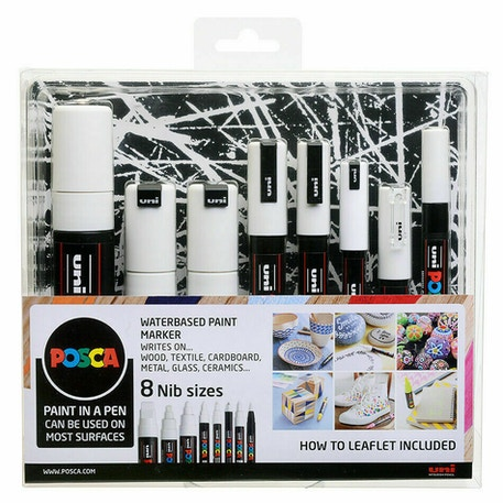 Uni POSCA Mixed Nib Sizes Marker Pen Set of 8 - White | Cass Art