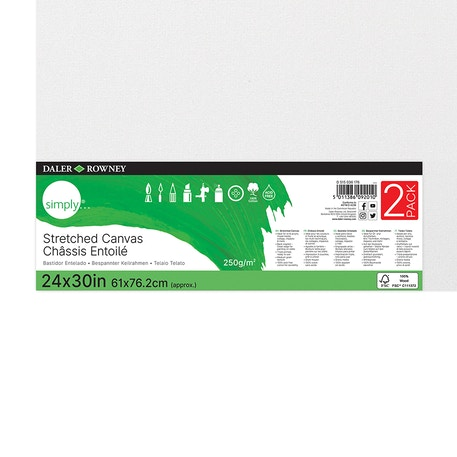 Daler Rowney Simply Canvas 24x30 Inch Pack of 2