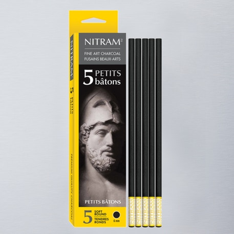 Nitram Extra Soft Round charcoal Set of 5 | Cass Art