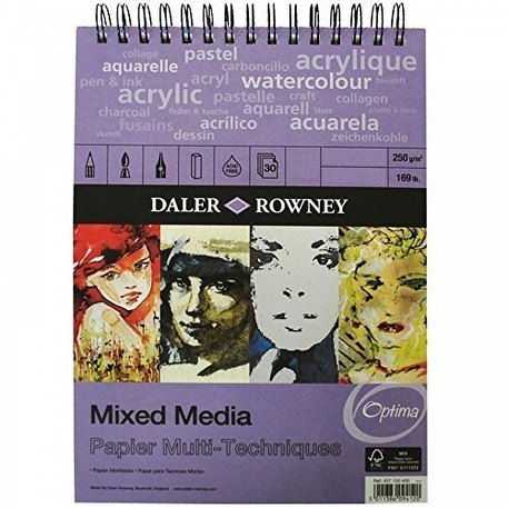Daler Rowney Optima Mixed Media Spiral 250gsm A4 | Cass Art