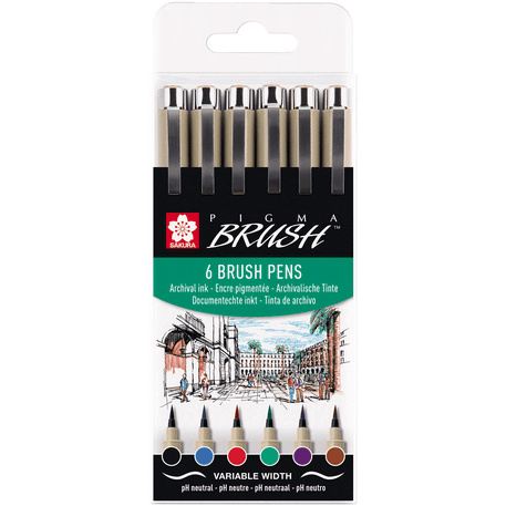 Sakura Pigma Brush Pens Set of 6 | Cass Art