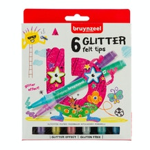 Bruynzeel Glitter Felt Tip Pens Assorted Colours Set of 6