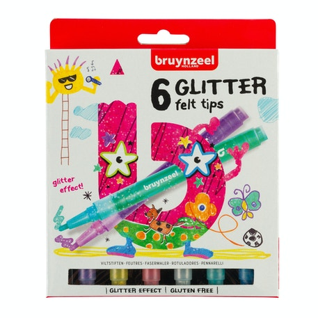 Bruynzeel Glitter Felt Tip Pens Assorted Colours Set of 6 | Cass Art