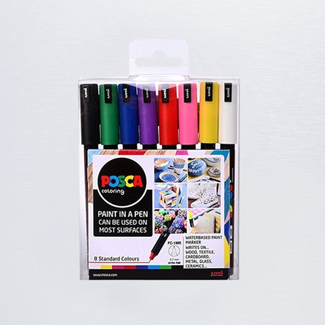 Posca Paint Marker PC-1MR Starter Pack 0.7mm Set of 8 | Cass Art