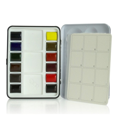 QoR Watercolour Mini Half Pans Set of 12 | Cass Art