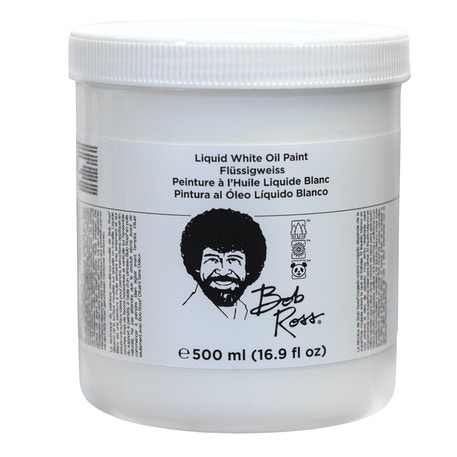Bob Ross Liquid Base Coat White 500ml | Cass Art