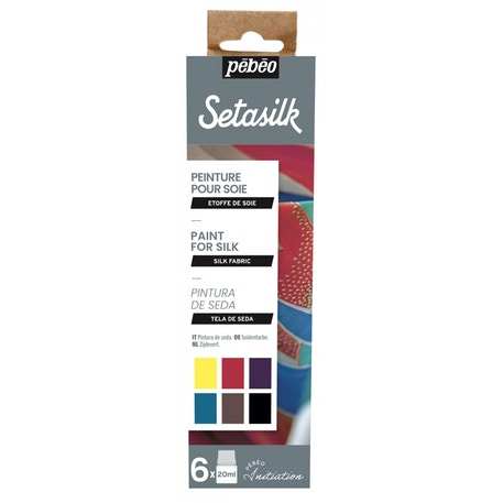 Pebeo Initiation Set Setasilk 20ml Assorted Colours Set of 6 | Cass Art