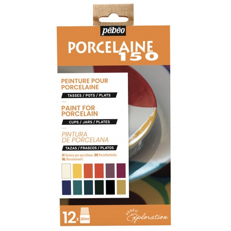 Pebeo Explorer Set Porcelaine 150 Glossy 20ml Assorted Colours Set of 12 | Cass Art