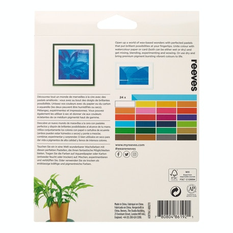 Reeves Water Soluble Wax Pastels Assorted Colours Set of 24 | Cass Art