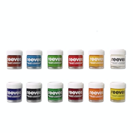 Reeves Poster Paint Pot Assorted Colours Set of 12 | Cass Art