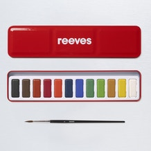 Reeves Watercolour Red 12 Pan Tin with Brush Assorted Colours Set of 12