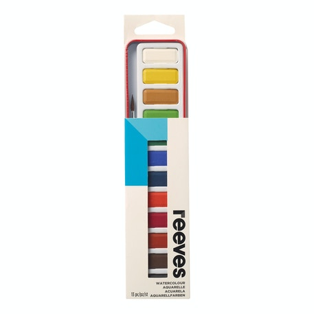 Reeves Watercolour Red 12 Pan Tin with Brush Assorted Colours Set of 12 | Cass Art