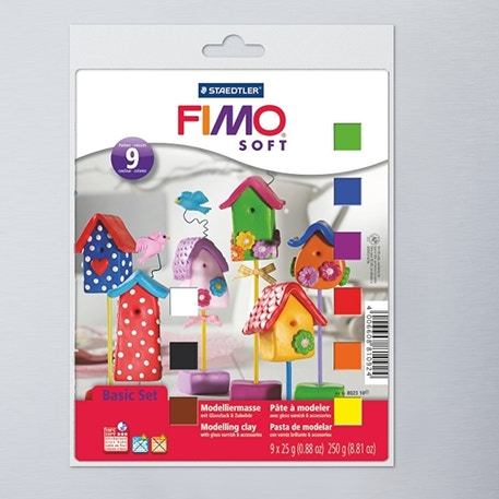 Staedtler Fimo Soft Modelling Clay Half Block and Tools Set of 8 | Fimo Modelling Clay | Cass Art