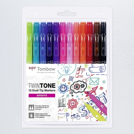 Tombow Twintone Dual Tip Marker Bright Set of 12 | Cass Art