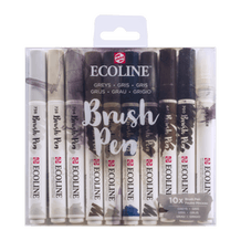 Ecoline Watercolour Brush Pen Grey Tones Set of 10