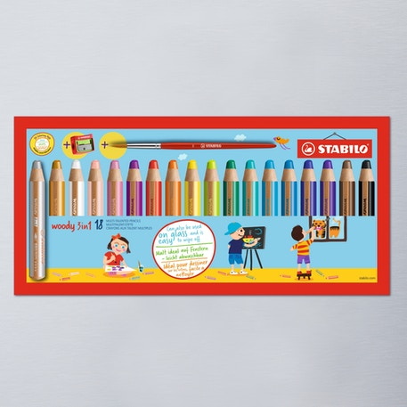 Stabilo Woody Sharpener & Paintbrush in Presentation Box Set of 18 | Cass Art