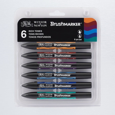 Winsor & Newton Brush Marker Rich Tones Set of 6 | Cass Art