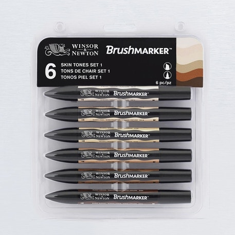 Winsor & Newton Brush Marker Skin Tones Set of 6 | Cass Art