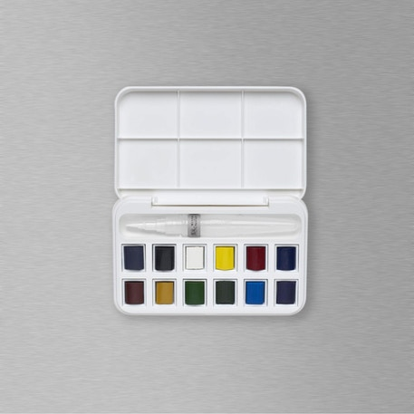 Winsor & Newton Cotman Watercolour Half Pan & Brush Pen Set of 12 | Best Value Watercolours | Cass Art