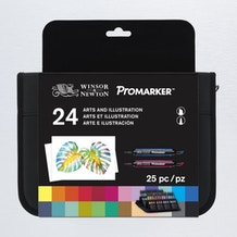 Winsor & Newton ProMarker Arts and Illustration Wallet Set of 24