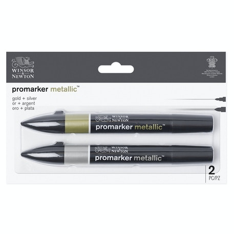 Winsor & Newton Metallic Marker Gold & Silver Set of 2 | Cass Art