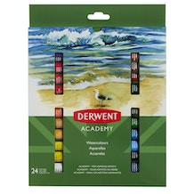 Derwent Academy Watercolour Paints 12ml Set of 24
