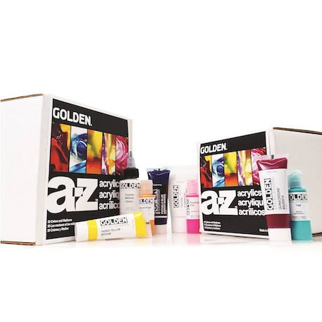 Golden A-Z Acrylic Box set of 14 | Cass Art