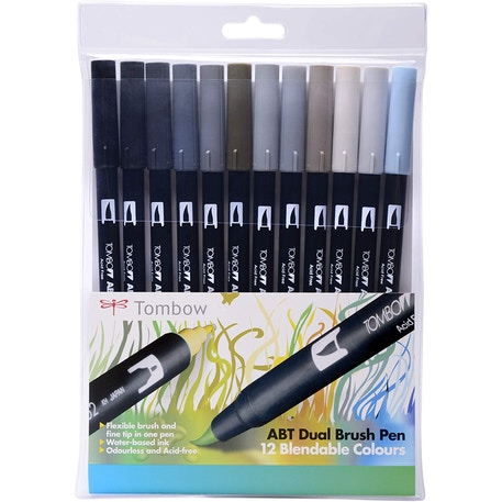 Tombow Dual Brush Pens Grey Colours Set of 12