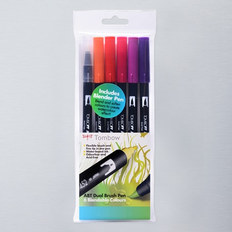 Tombow Dual Brush Pens Sunset Set of 6 | Cass Art